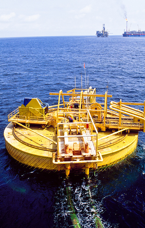 SPM Bouy loading oil & gas  from FPSO to Supertankers off Angola in the South Atlantic