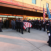 Primary Pall Bearers Wilmington fire department class of 1993 carries the body of Wilmington Senior Firefighter Ardythe Hope Funeral to engine number five Sat, Dec. 11, 2016, at The Chase Center On The River Front in Wilmington, Delaware. <br /> <br /> Wilmington Senior Firefighter Ardythe Hope died Dec. 1 from injuries suffered battling a fire on September 24th that was ruled arson.  <br /> <br /> She'd been in the hospital ever since with burns over 70 percent of her body.
