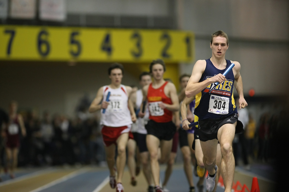 Windsor, Ontario ---13/03/09--- Johannes Mallie of  the University of Victoria competes in the 4x800m Relay at the CIS track and field championships in Windsor, Ontario, March 13, 2009..Sean Burges Mundo Sport Images