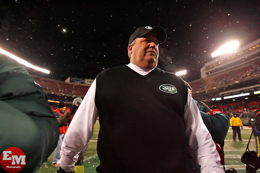 Jan 3, 2010; East Rutherford, NJ, USA; New York Jets head coach Rex Ryan walks off the field after clinching a playoff spot with a 37-0 win over the Cinncinati Bengals at Giants Stadium.