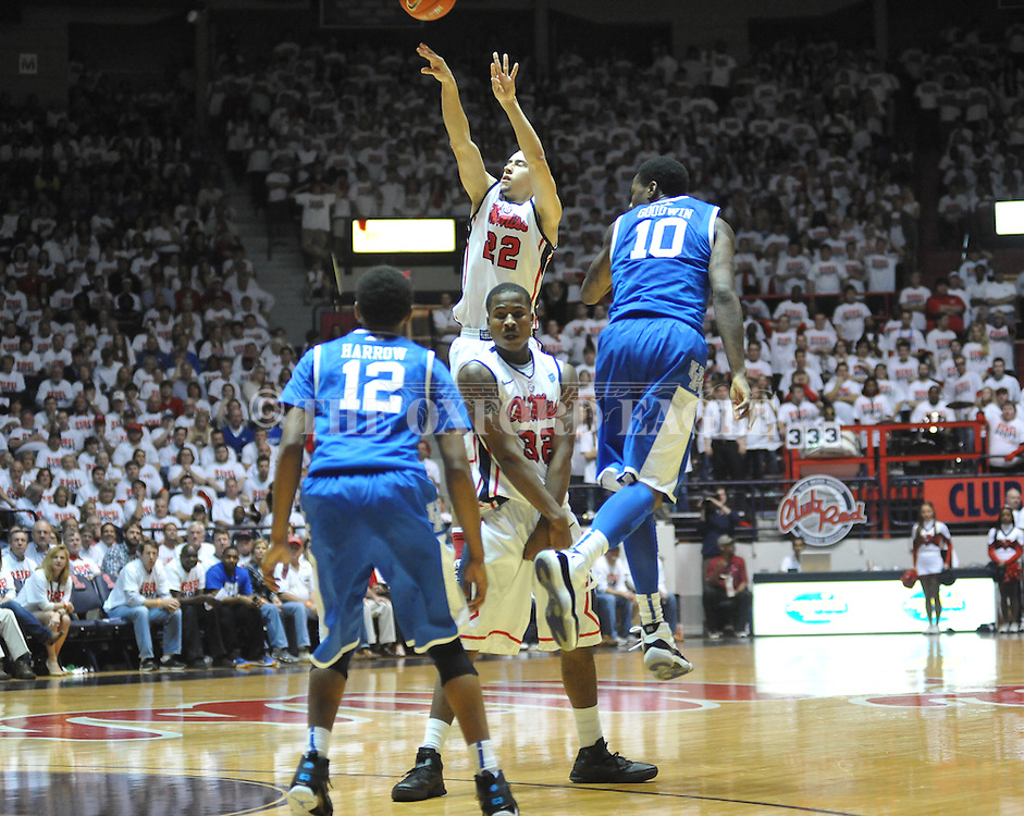 "Ole Miss' Marshall Henderson (22) vs. Kentucky at the C.M. ""Tad"" Smith Coliseum on Tuesday, January 29, 2013. Kentucky won 87-74. (AP Photo/Oxford Eagle, Bruce Newman).."