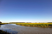 The sun rises on a creek bank filled with spartina on Sapelo Island. Property owners are facing higher taxes, and fees from the county tax collector threatening an already fragile community of Hog Hammock. (Stephen Morton for The New York Times)