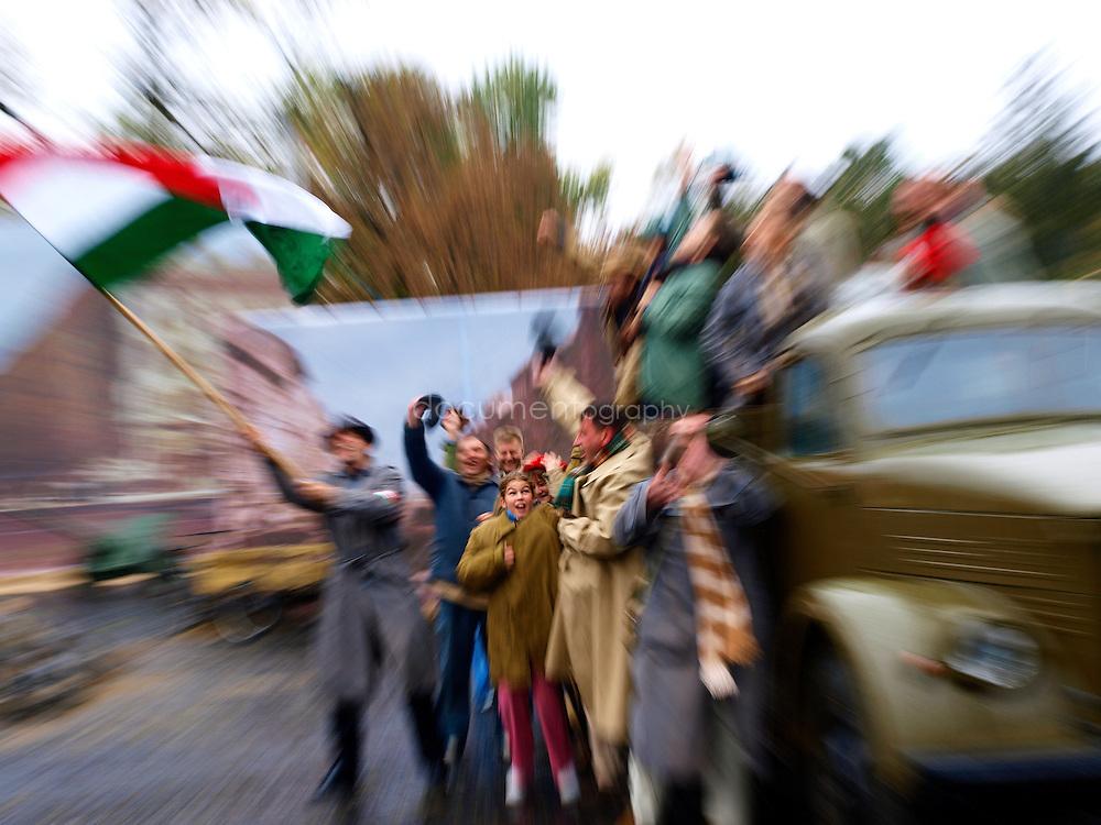 People celebrating the 1956 revolution, Budapest, Hungary.