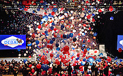 Balloons rain down from up in the Cox Pavilion as UNLV and LVCVA host a rally featuring Governor Brian Sandoval and other invited guests promoting the final presidential debate in October on Tuesday, January 12, 2016.  L.E. Baskow