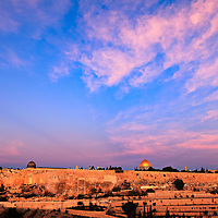 Jerusalem's Temple Mount and Jewish Quarter at Sunrise, viewed from the East.