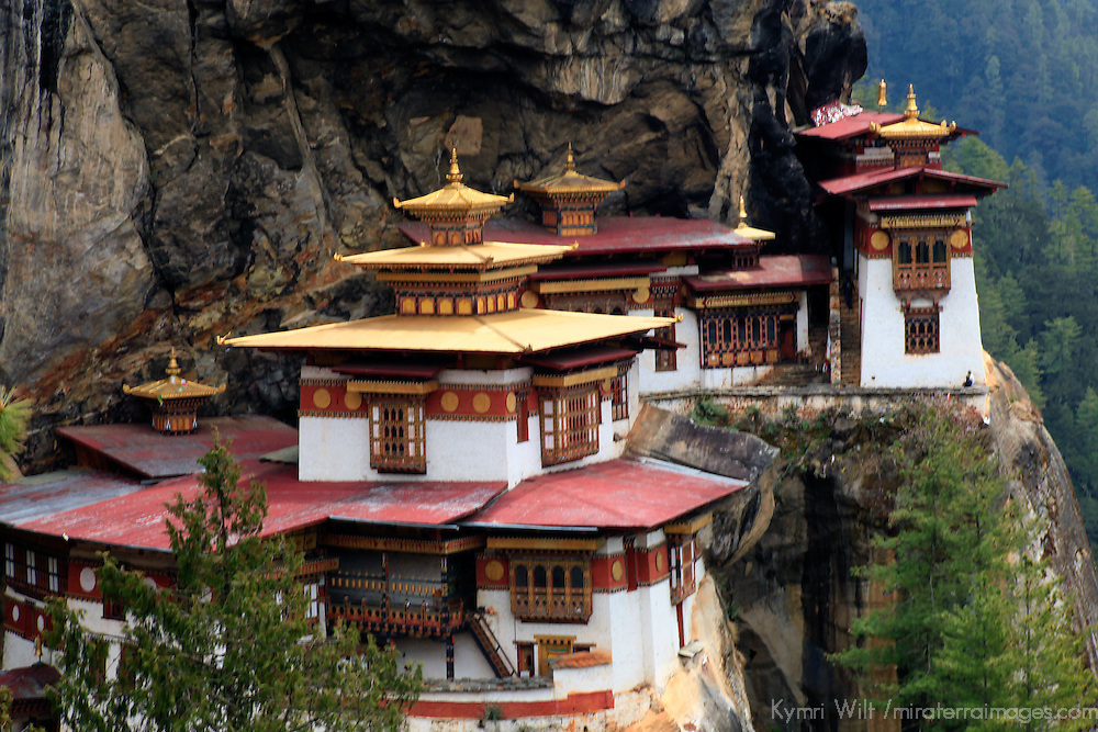 Asia, Bhutan, Paro. The Taktsang Monastery, also known as Tiger's Nest, built into the cliffs high above Paro.