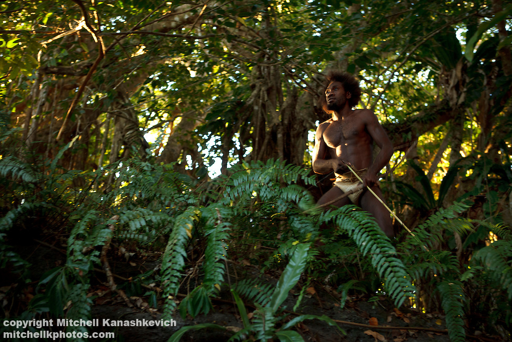 A lot of Ni Vanuatu men around the nation regularly go out into the bush to hunt for birds and flying foxes. Rah Lava Island, Torba Province, Vanuatu