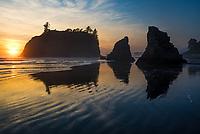 Sunset and beach reflections on Ruby Beach, Olympic National Park, Washington