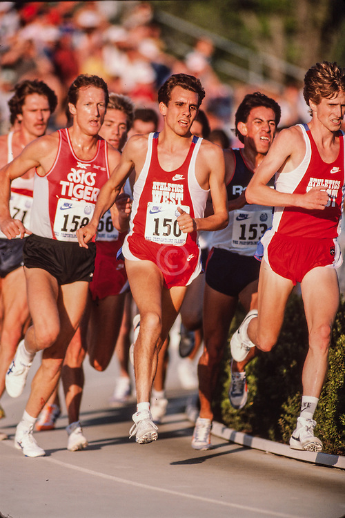Doug Padilla, Steve Scott, Terry Brahm, Prefontaine Classic track and field meet, Hayward Field, University of Oregon, Eugene, Oregon, USA