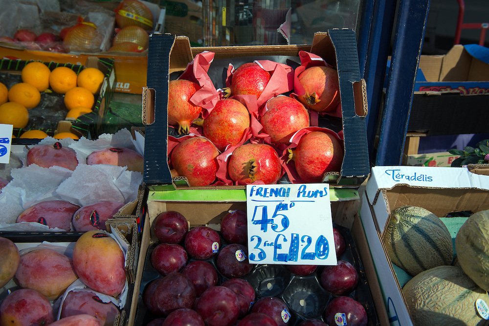 French fruit on sale in the 'French Quarter' of South Kensington, London, Britain.