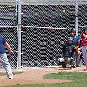 04/14/12 Newark Del. Angels batter Evan Stosic #3 makes contact with the ball in the second inning of a Canal L.L. League game against the Yankees Saturday, April. 14, 2012 at Canal L.L. Complex in Bear Delaware...Special to The News Journal/SAQUAN STIMPSON