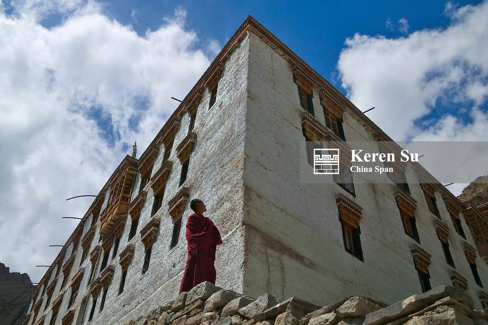 Monk with Hemis Gompa, Leh, Ladakh, India