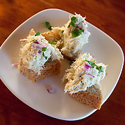 Dried cod cream on bread. Dry cod, stockfish, served at the prize winning restaurant Bios Café in Nordreisa, Northern Norway.