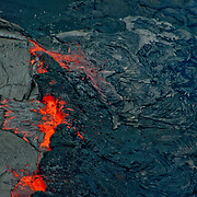 Aerial view of Kiluea Volcano and lava flow, Hawaii Volcanoes National Park.