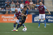 Stephen Ireland of Aston Villa defends Roger Torres of the Philadelphia Union during a match between Aston Villa FC and Philadelphia Union at PPL Park in Chester, Pennsylvania, USA on Wednesday July 18, 2012. (photo - Mat Boyle)