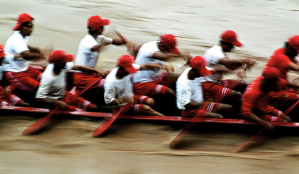 Annual boat races in Luang Prabang provice, Laos is exciting for participants and spectators.
