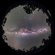 A 360&deg; degree fish-eye panorama of the Milky Way with the Galactic Centre overhead and the spiral arms of the Galaxy symmetrically displayed to either side of the core: toward Scutum, Aquila, and Cygnus at left; and toward Norma, Centaurus, and Carina at right.<br /> <br /> This is from near Coonabarabran, NSW, Australia at at latitide of 32&deg; South.<br /> <br /> Scorpius and Antares are overhead at the zenith. The Dark Emu is visible across the sky, from his head in Crux at right, to his tail in Scutum at left. <br /> <br /> Jupiter is the bright object in the west at top. The glow of Gegenschein is below it. <br /> <br /> The view is with southeast to the bottom to place the plane of the Galaxy horizontally across the frame. <br /> <br /> Some airglow discolours the sky at left. <br /> <br /> This is a stitch of 8 segments, each a 1-minute exposure with the 14mm lens at f/2.6 and filter-modified Canon 5D MkII at ISO 3200. The camera was on a tracker, the iOptron Sky-Tracker, so the stars are not trailed. Stitched with PTGui.
