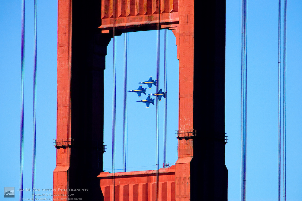 Blue Angels As Seen In Flight Through the Golden Gate Bridge