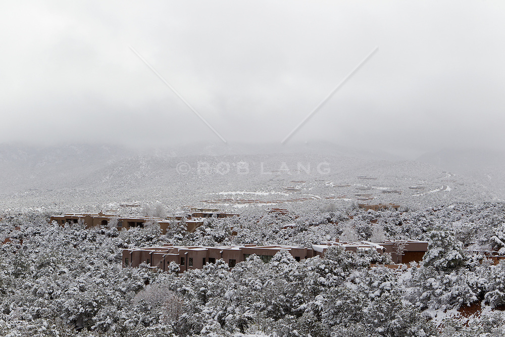 snowy day in Santa Fe, New Mexico residential neighborhood