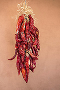 Ristra of drying chile peppers in Old Town Albuquerque, New Mexico.