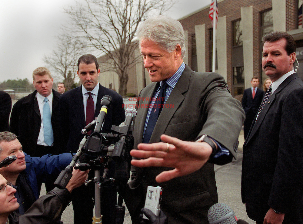 """03/13/02 -Somerville, MA) Presidential Assistance-Democratic Gubernatorial candidate Steve Grossman got a little help from buddy former President Bill Clinton today as Clinton spoke at Grossman's family business """"Mass Envelope Plus. Afterward he spoke to awaiting press saying: """"Don't get me involved a Mass Governor race controversy"""" (When asked if his Grossman visit was an endorsement(031302prezmg - Staff photo by Mark Garfinkel.  Saved in photo Thurs and photo1)"""