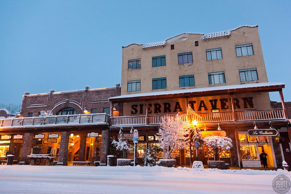 """Snowy Sierra Tavern 1"" - This snow scene of the Sierra Tavern and Commercial Row was photographed in historic Downtown Truckee, CA."
