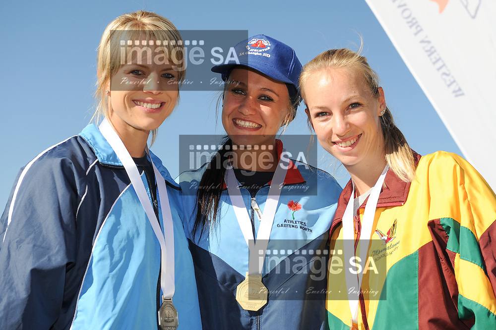 STELLENBOSCH, South Africa - Saturday 13 April 2013, Carla Marais, Lynique Prinsloo and Nicholeen McLaren during day 2 of the South African Senior Athletics championships at the University of Stellenbosch's Coetzenburg stadium.Photo by Roger Sedres/ ImageSA