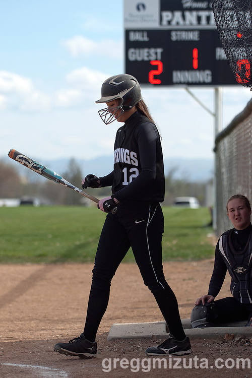 Vale freshman Hannah Mizuta on the warmup deck during the Vale Parma softball game, April 15, 2014 at Parma, Idaho. Mizuta went 2-3, with a walk and 3 runs in Vale's 18-4 win.