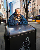 Portraits of Jim Poss, founder of Bigbelly Solar trash compactor.