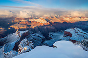 A winter scene with fresh snow. As viewed from Hopi Point on the South Rim of Grand Canyon National Park.
