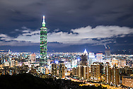 Twilight across the taipei skyline as seen from Elephant Mountain, Taipei, Taiwan.