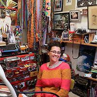 Artist Cyndi Buell poses for a portrait in her studio in Wilmington Sunday April 6, 2014. (Jason A. Frizzelle)