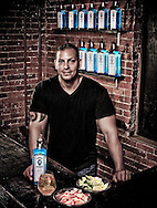 Joe Aceto photographed at R Bar for Bombay Sapphire as advertorial placement in GQ magazine.  (Photo by Robert Falcetti).