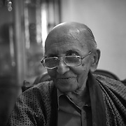 Lester James Peries. .Film Director, Film Producer and screen writer. at his home in Colombo.