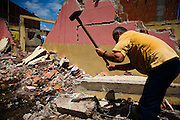 Demolition of a house in the center of the Albanian section of Mitrovica, Kosovo. There will be a high-rise apartment building constructed on this site.