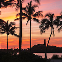 South Florida lighthouse photography from photographer Juergen Roth showing beautiful sunset light framing the Jupiter Inlet Lighthouse. The famous red lighthouse is located in Jupiter, FL in Palm Beach County. The photography image was captured from DuBois Park that stretches along the Jupiter Inlet and Atlantic Ocean.<br /> <br /> Florida sunset pictures of the Jupiter Inlet Light are available as museum quality photo prints, canvas prints, wood prints, acrylic prints or metal prints. Fine art prints may be framed and matted to the individual liking and decorating needs:<br /> <br /> http://juergen-roth.pixels.com/featured/jupiter-lighthouse-juergen-roth.html<br /> <br /> All digital Florida photos are available for photography image licensing at www.RothGalleries.com. Please contact me direct with any questions or request.<br /> <br /> Good light and happy photo making!<br /> <br /> My best,<br /> <br /> Juergen<br /> Prints: http://www.rothgalleries.com<br /> Photo Blog: http://whereintheworldisjuergen.blogspot.com<br /> Instagram: https://www.instagram.com/rothgalleries<br /> Twitter: https://twitter.com/naturefineart<br /> Facebook: https://www.facebook.com/naturefineart
