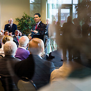 WAUKEE, IA - APRIL 25: Wisconsin Gov. Scott Walker talks to a group of VIP guests Saturday, April 25, 2015, during the Iowa Faith & Freedom Coalition Spring Kick-Off at the Point of Grace Church in Waukee, Iowa. Scott Morgan for The New York Times