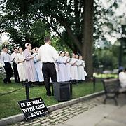 Choir singing in central Boston