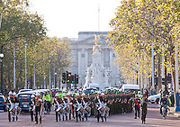 20091107                 Copyright image 2009©.Commando Cops speedmarch through London raising  over £100K for war wounded Royal Marines to compete in the 2012 Paralympics..90 former Royal Marine Commandos who are now serving police officers from around the UK today, SaturdayNovember 7th 2009 ran a half marathon (Speedmarch) toraise funds to help Royal Marines injured in the line of duty. So far they have raised over 75K and think they'll do a lot more...The funds will go towards purchasing the specialist equipment necessary to enable the 60+ (now paraplegic) Royal Marines to train and compete in the 2010 Vancouver Winter Paralympics and the 2012 Paralympics. ..The route, through central London started outside No10 Downing Street, then made it's way through Parliament Square, into south London and back past The Tower of London, (Yeoman Warders (Beefeaters) providing a water station) Trafalgar Square (Commandos and Police cadets providing another water station)  and along Oxford Street and finishing up along the Mall (Buck House in background) to the RM memorial in front of Admiralty Arch...Donations to the appeal can be made here: .For further info please contact Insp. Mark Scoular, mark.scoular@btinternet.com..Mandatory Credit Ant Upton otherwise additional charges will apply..For photographic enquiries please call Anthony Upton 07973 830 517 or email info@anthonyupton.com .This image is copyright Anthony Upton 2009©..This image has been supplied by Anthony Upton and must be credited Anthony Upton. The author is asserting his full Moral rights in relation to the publication of this image. All rights reserved. Rights for onward transmission of any image or file is not granted or implied. Changing or deleting Copyright information is illegal as specified in the Copyright, Design and Patents Act 1988. If you are in any way unsure of your right to publish this image please contact Anthony Upton on +44(0)7973 830 517 or emai