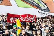 ROTTERDAM  - Feyenoord - PSV , eredivisie , voetbal , Feyenoord stadion de Kuip , seizoen 2014/2015 , 22-03-2015 , Spandoek van de supports met Wanbeleid en een banaan waar ook veel om te doen is