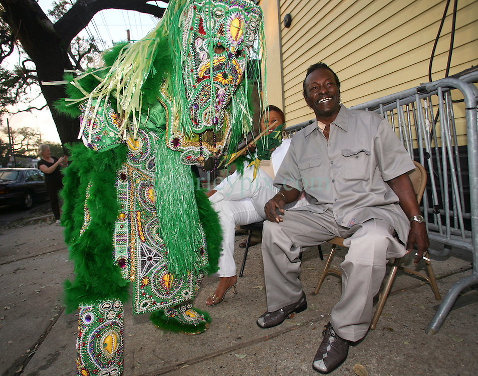 01 May 2006. New Orleans, Louisiana. <br /> Mardi Gras Indian, Spirit of Fi Yi Yi tribe Victor Harris  meets with Big Chief Theodore &quot;Bo&quot; Dollis of the Wild Magnolias outside Tipitina's. Harris appeared for the annual 'Instruments A Comin' spectacle, hosted by the Tipitina's Foundation, a charity set up in the city to stimulate the recovery of New Orleans musical heritage.<br /> <br /> Big Chief Theodore &quot;Bo&quot; Dollis, who led the Wild Magnolia tribe of Mardi Gras Indians in performances around the world passed away January 20th, 2015. He was 71.<br /> Photo; Charlie Varley/varleypix.com