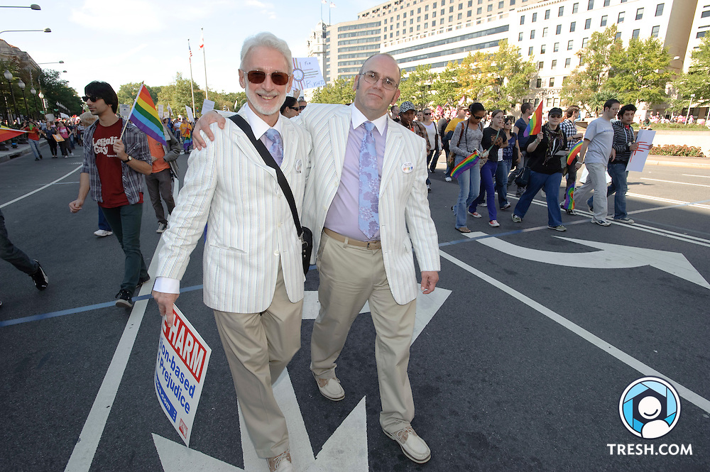 Partners of 26 years, Frank Mahood and Chet  Kabara from Hopewell, New Jersey march during the National Equality March, October 11, 2009 in Washington, DC.