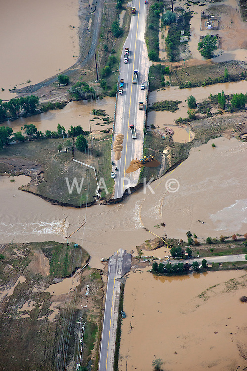 Flooding along St Vrain River in Weld County, Colorado near Platteville, Colorado.  Colorado Blvd. Hwy 13