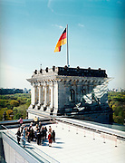 View from the Dome of the Reichstag designed by Norman Foster. A  gleaming metal and glass structure with an internal ramp that spirals up a to a terrace with 360-degree views of central Berlin. <br /> Platz der Republik 1<br /> Berlin<br /> Germany
