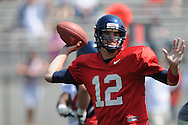 Mississippi quarterback Nathan Stanley passes in  Mississippi's Grove Bowl in Oxford, Miss. on Saturday, April 17, 2010.