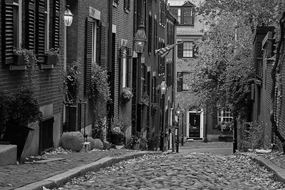 Boston B&amp;W photography of the famous Acorn Street in Beacon Hill. This historic and iconic New England city of Boston night scenery photography image is available as museum quality photography prints, canvas prints, acrylic prints or metal prints. Fine art prints may be framed and matted to the individual liking and decorating needs:<br />