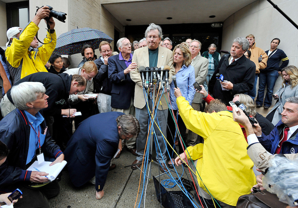 Dr. William Petit Jr. speaks as he's surrounded by media and family outside  Superior Court in New Haven, Conn., on Tuesday, Oct. 5, 2010. Steven Hayes was convicted of capital felony, murder, sexual assault and other counts by a jury that heard eight days of gruesome testimony about the July 2007 attacks on Jennifer Hawke-Petit and her daughters, Hayley and Michaela. (AP Photo/Jessica Hill)
