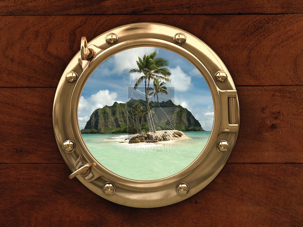 Porthole inside a ship with a view of a deserted island
