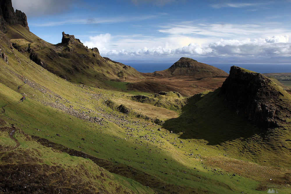 A view of the Quiraing, beautiful geological region on the Trotternish Peninsular in northern Skye, Scotland