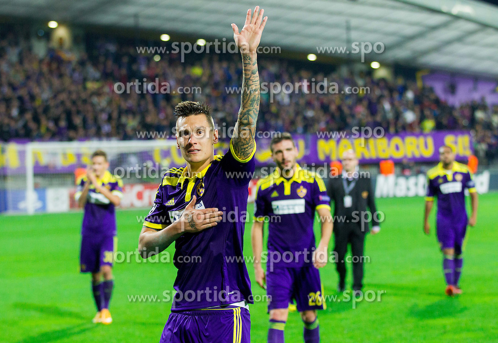 Soares Bordignon Arghus of Maribor celebrates after the football match between NK Maribor, SLO  and Chelsea FC, ENG in Group G of Group Stage of UEFA Champions League 2014/15, on November 5, 2014 in Stadium Ljudski vrt, Maribor, Slovenia. Photo by Vid Ponikvar / Sportida